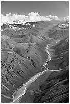 Aerial view of verdant river valley. Wrangell-St Elias National Park ( black and white)