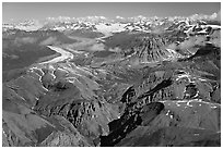 Aerial view of Chitistone Mountains and Nizina Glacier. Wrangell-St Elias National Park, Alaska, USA. (black and white)