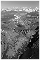 Aerial view of Chitistone Mountains. Wrangell-St Elias National Park, Alaska, USA. (black and white)