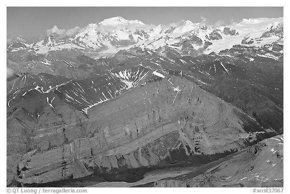 Aerial view of Mile High Cliffs and Mt Blackburn. Wrangell-St Elias National Park (black and white)