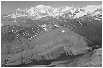 Aerial view of Mile High Cliffs and Mt Blackburn. Wrangell-St Elias National Park, Alaska, USA. (black and white)