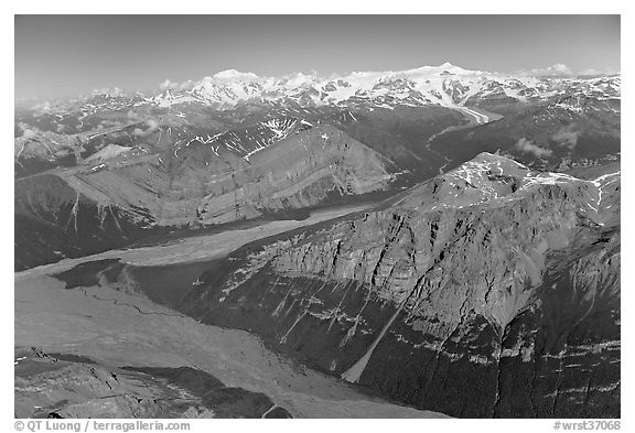 Aerial view of Mile High Cliffs and Chizina River. Wrangell-St Elias National Park (black and white)