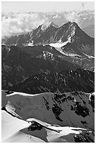 Aerial view of rugged peaks, Saint Elias Mountains. Wrangell-St Elias National Park, Alaska, USA. (black and white)