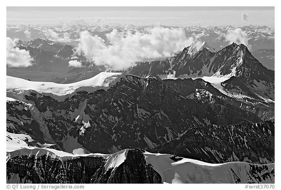 Aerial view of rugged dark peaks, Saint Elias Mountains. Wrangell-St Elias National Park (black and white)