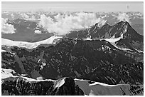 Aerial view of rugged dark peaks, Saint Elias Mountains. Wrangell-St Elias National Park, Alaska, USA. (black and white)