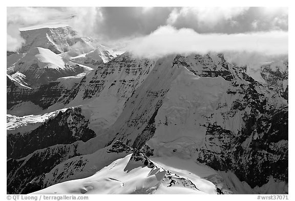 Aerial view of mountain with steep icy faces. Wrangell-St Elias National Park (black and white)