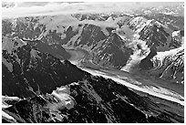 Aerial view of glacier, University Range. Wrangell-St Elias National Park, Alaska, USA. (black and white)