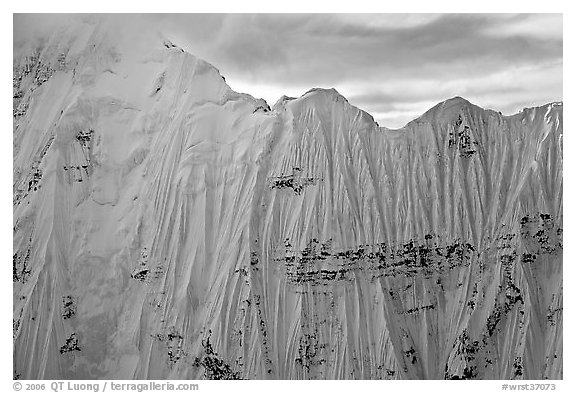 Aerial view of ice wall, University Range. Wrangell-St Elias National Park (black and white)