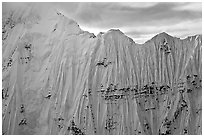 Aerial view of ice wall, University Range. Wrangell-St Elias National Park, Alaska, USA. (black and white)
