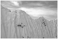 Aerial view of flutted wall, University Range. Wrangell-St Elias National Park, Alaska, USA. (black and white)