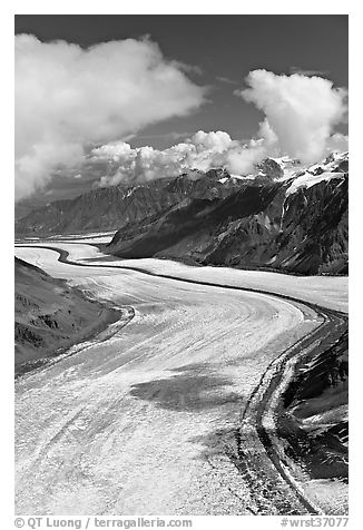 Aerial view of Barnard Glacier. Wrangell-St Elias National Park (black and white)