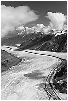 Aerial view of Barnard Glacier. Wrangell-St Elias National Park ( black and white)