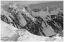 Aerial view of glaciated peak, University Range. Wrangell-St Elias National Park, Alaska, USA. (black and white)