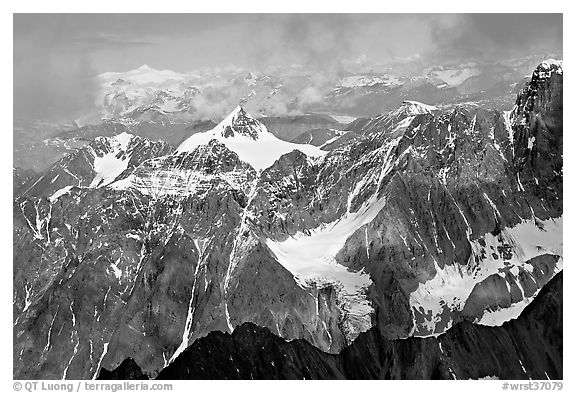 Aerial view of rocky peaks, University Range. Wrangell-St Elias National Park (black and white)