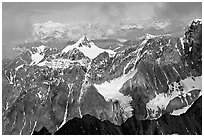 Aerial view of rocky peaks, University Range. Wrangell-St Elias National Park, Alaska, USA. (black and white)