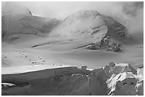 Aerial view of seracs and snowy peak, University Range. Wrangell-St Elias National Park, Alaska, USA. (black and white)