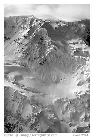 Aerial view of icy face with hanging glaciers and seracs. Wrangell-St Elias National Park (black and white)