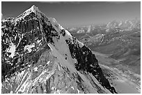 Aerial view of ice-covered peak, University Range. Wrangell-St Elias National Park, Alaska, USA. (black and white)