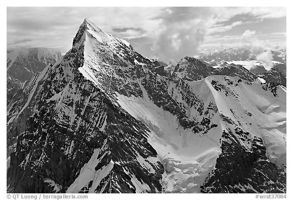Aerial view of pointed icy peak, University Range. Wrangell-St Elias National Park (black and white)