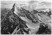 Aerial view of pointed icy peak, University Range. Wrangell-St Elias National Park, Alaska, USA. (black and white)