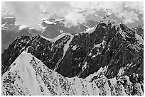 Aerial view of ridges, University Range. Wrangell-St Elias National Park, Alaska, USA. (black and white)
