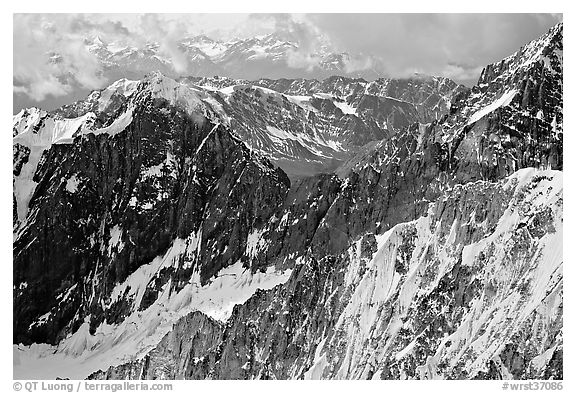 Aerial view of rugged peaks in the University Range. Wrangell-St Elias National Park (black and white)