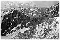 Aerial view of rugged peaks in the University Range. Wrangell-St Elias National Park, Alaska, USA. (black and white)