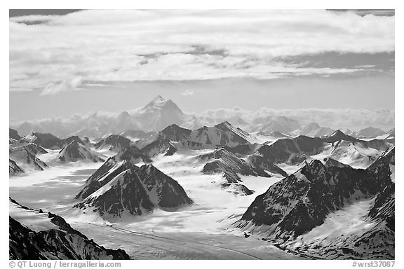 Aerial view of Granite Range with Mt St Elias in background. Wrangell-St Elias National Park (black and white)