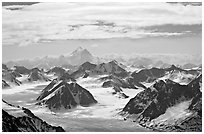 Aerial view of Granite Range with Mt St Elias in background. Wrangell-St Elias National Park, Alaska, USA. (black and white)