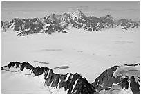 Aerial view of snow-covered Bagley Field. Wrangell-St Elias National Park, Alaska, USA. (black and white)