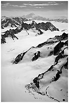Aerial view of mountains with Mt St Elias in background. Wrangell-St Elias National Park, Alaska, USA. (black and white)