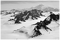 Aerial view of Jefferies Glacier and Mount St Elias. Wrangell-St Elias National Park, Alaska, USA. (black and white)