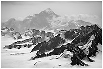 Aerial view of Mount St Elias. Wrangell-St Elias National Park, Alaska, USA. (black and white)