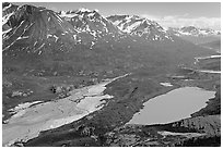 Aerial view of Ross Geen Lake and Granite Range. Wrangell-St Elias National Park, Alaska, USA. (black and white)