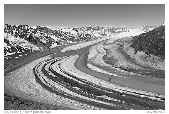 Aerial view of curving glacier near Bagley Field. Wrangell-St Elias National Park (black and white)