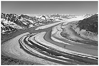 Aerial view of curving glacier near Bagley Field. Wrangell-St Elias National Park, Alaska, USA. (black and white)