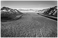 Aerial view of Tana Glacier. Wrangell-St Elias National Park, Alaska, USA. (black and white)