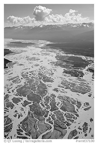 Aerial view of braids of the Chitina River. Wrangell-St Elias National Park (black and white)