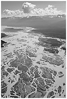 Aerial view of braids of the Chitina River. Wrangell-St Elias National Park, Alaska, USA. (black and white)
