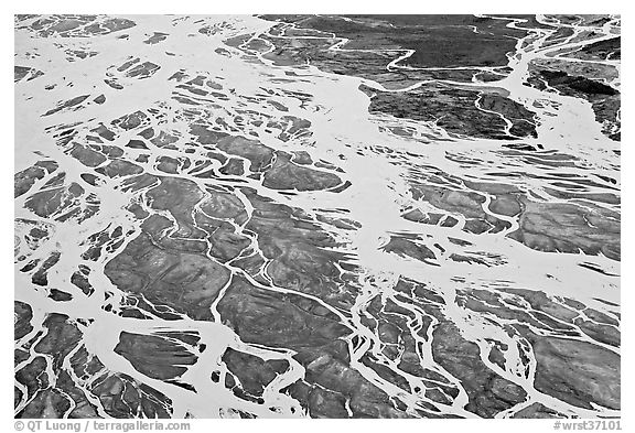 Aerial view of river braids. Wrangell-St Elias National Park, Alaska, USA.