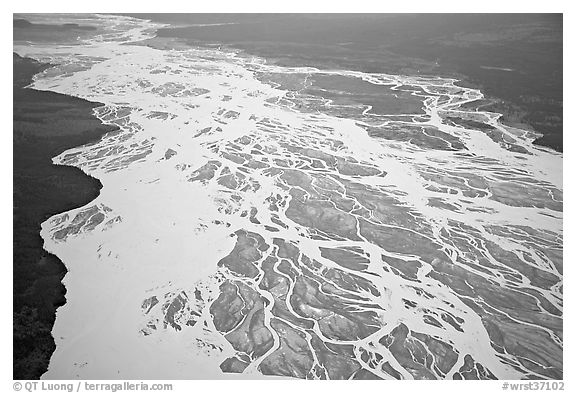 Aerial view of braided river plain. Wrangell-St Elias National Park (black and white)