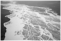 Aerial view of braided river plain. Wrangell-St Elias National Park, Alaska, USA. (black and white)
