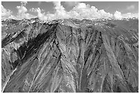 Aerial view of Bonzanza Ridge. Wrangell-St Elias National Park, Alaska, USA. (black and white)