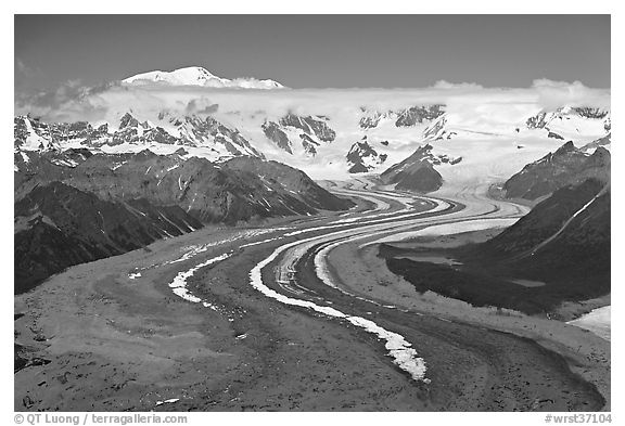 Aerial view of ice bands and moraines of Kennicott Glacier and Mt Blackburn. Wrangell-St Elias National Park (black and white)