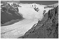 Aerial view of Erie Mine on ridge above Root Glacier. Wrangell-St Elias National Park, Alaska, USA. (black and white)