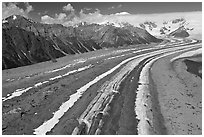 Aerial view of Kennicott Glacier. Wrangell-St Elias National Park, Alaska, USA. (black and white)