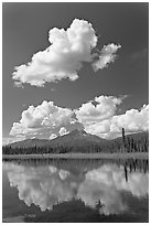 Puffy clouds reflected in lake. Wrangell-St Elias National Park ( black and white)