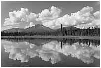 Clouds, mountains, and reflections. Wrangell-St Elias National Park, Alaska, USA. (black and white)