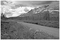McCarthy road and mountains. Wrangell-St Elias National Park, Alaska, USA. (black and white)