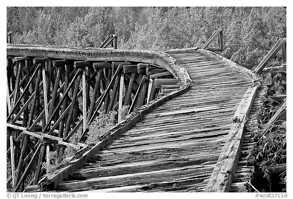 Broken section of Gilahina trestle. Wrangell-St Elias National Park (black and white)